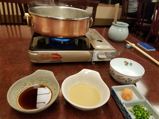 Shabu Shabu beef cooking set up at Matsukaze