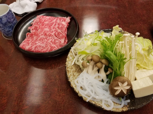 Shabu shabu beef and vegetables.