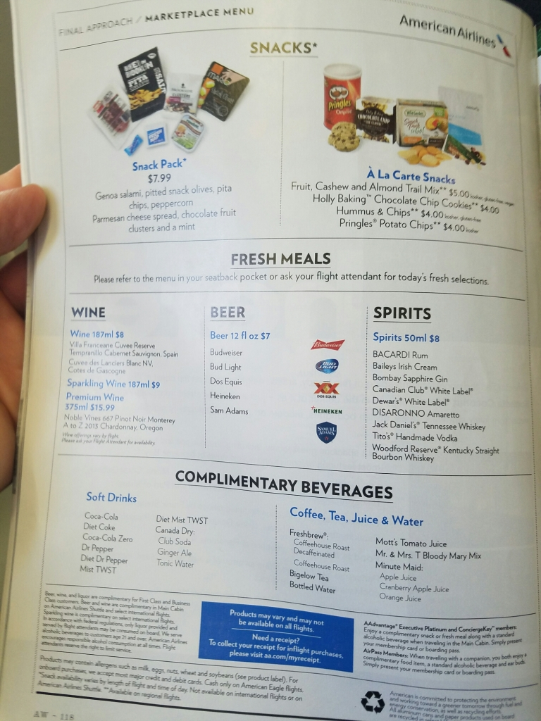 First Class On An American Eagle Regional Jet Dine Drink