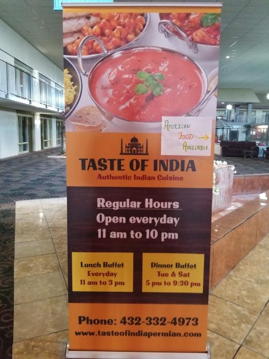 Taste of India restaurant sign