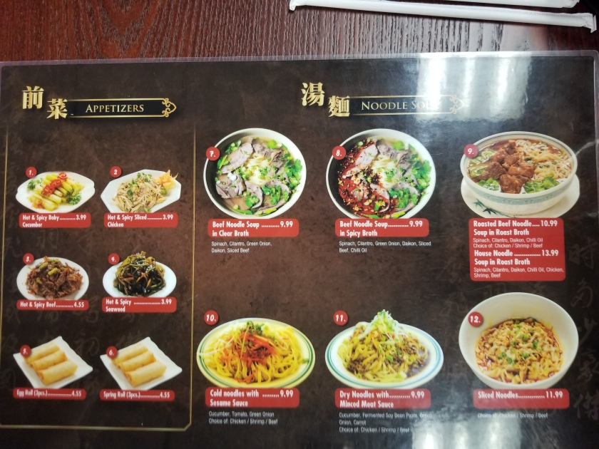 Menu page 1 at Noodles in Midland