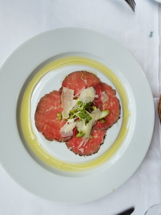 Beef carpaccio appetizer at Chops Grille on the Royal Caribbean Liberty of the Seas.