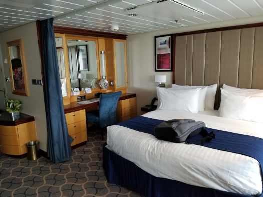The bed and desk in Grand Suite 1298 on the Royal Caribbean Liberty of the Seas. There was also a curtain which could be drawn to provide a bit of privacy between the bed and the rest of the cabin. This was particularly helpful for dressing.