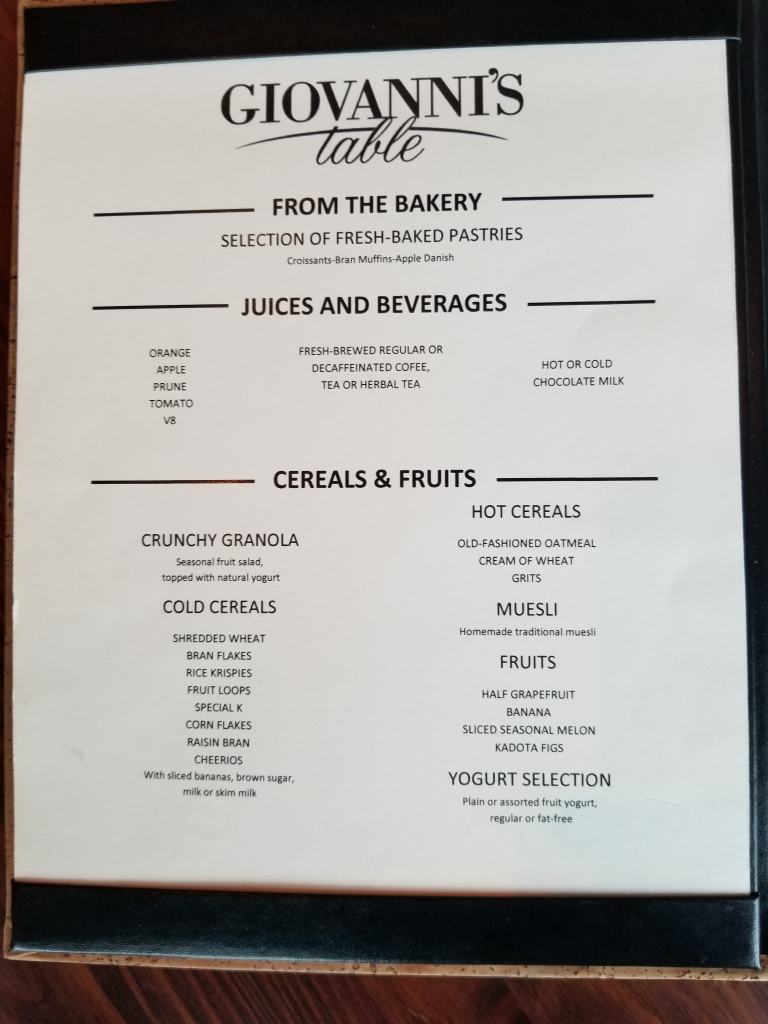 Page one of the breakfast menu for suite guests on the Liberty of the Seas. This was if you wanted a plated breakfast served to you. We were also free to get our own breakfast from the buffet and use the space for seating.