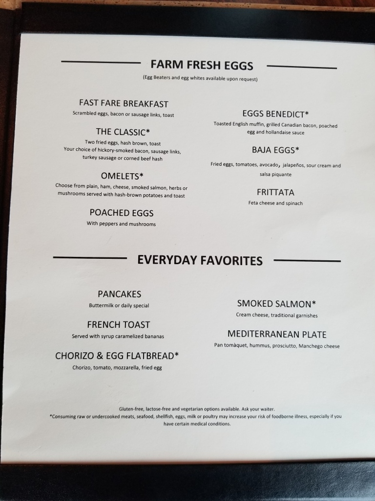 Page 2 of the breakfast menu for suite guests on the Liberty of the Seas.